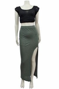 Helmut Lang Kinetic Jersey Maxi Skirt Olive