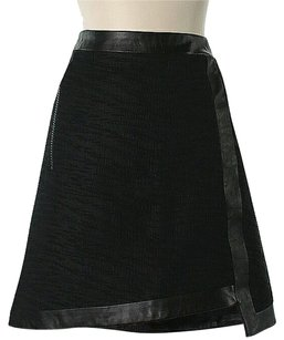 Helmut Lang Wrap Faux Leather Trim Mini Skirt Black