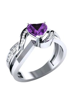 Helzberg Diamonds Exquisite! Twisted Heart Purple Gem Ring