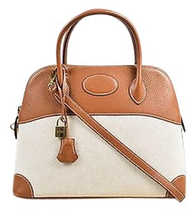 Hermès Hermes Tan Canvas Cognac Tote in Brown,Tan