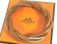Hermès Auth HERMES Logos Leather Bracelet Bangle Brown With Box Free Shipping 2432eR