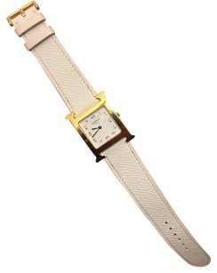 Hermès AUTH Hermes Single Tour White Grained Calfskin Leather Strap