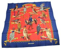 Hermès AUTHENTIC HERMES JUMBO XL SCARF HANDKERCHIEF RED BLUE SILK 100% VINTAGE E04639