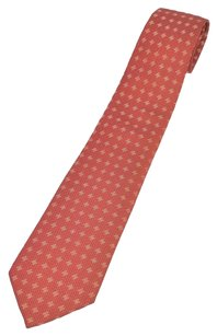 Hermès Authentic HERMES Logos Neck Tie Silk 100% Red Vintage Made In France BT04156a