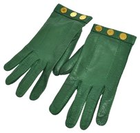 Hermès Authentic HERMES Logos Winter Gloves Green Gold Leather Vintage Size 7 K06596