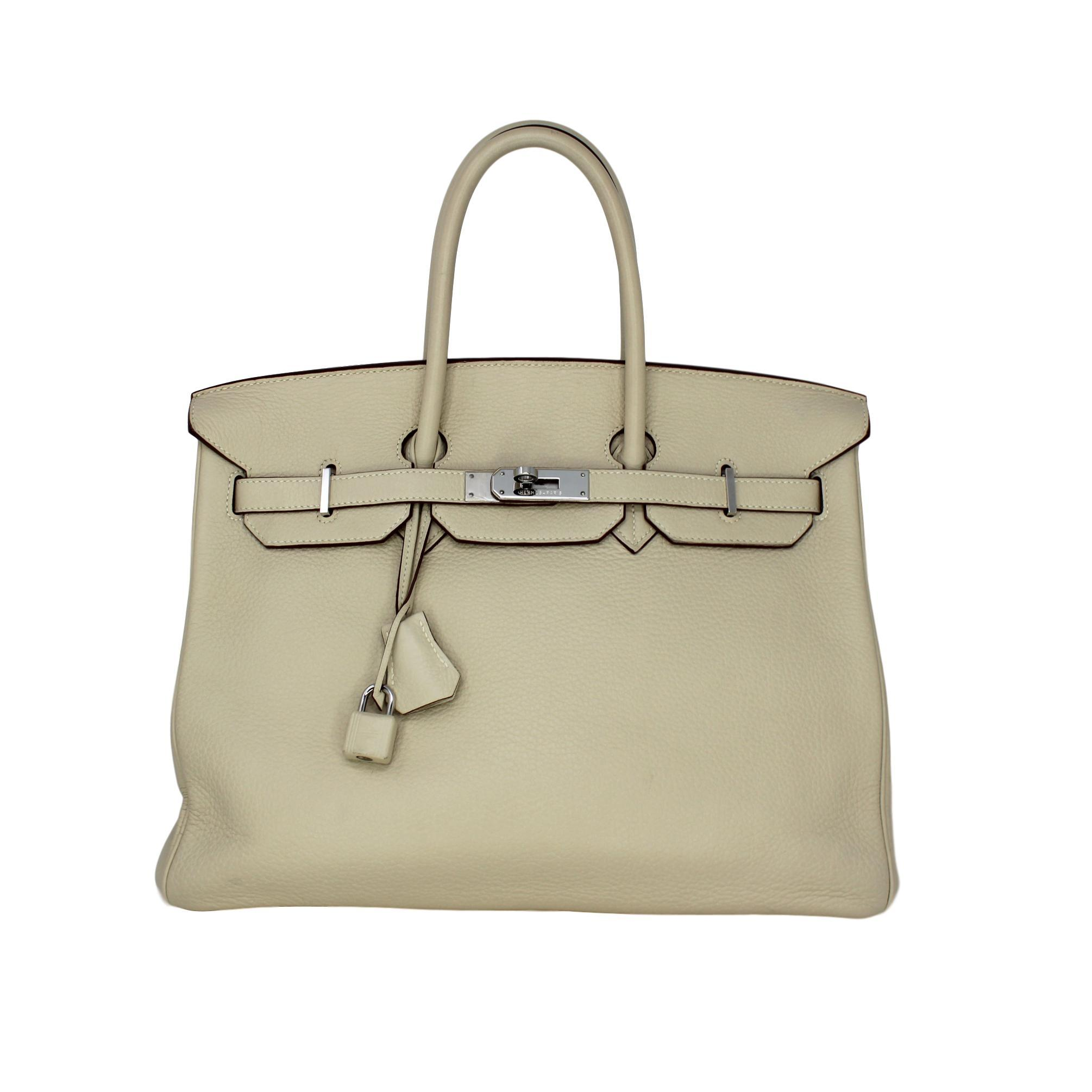 07e49acb7a0 ... 50% off hermès birkin 35 white cream travel bag a1b45 91bde
