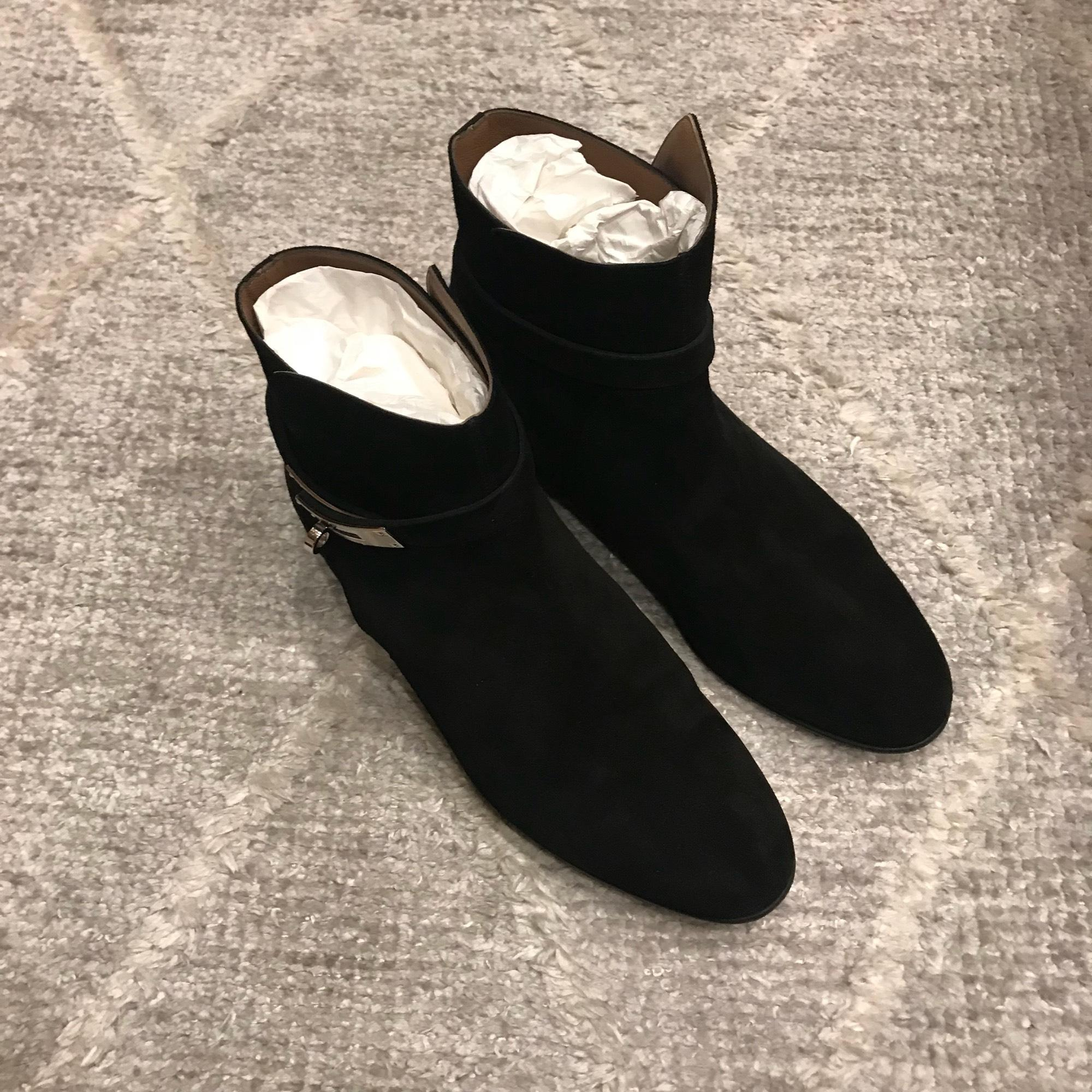 100% authentic 15c90 22e69 Hermès Black Neo Suede Boots/Booties Size EU 40.5 (Approx ...