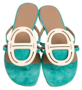 Herms Green Sandals
