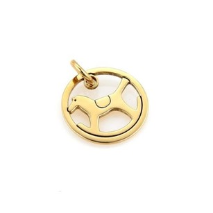 Herms Hermes 18k Yellow Gold Rocking Horse Round Charm Pendant