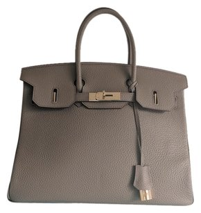 Herms Hermes Birkin Leather Gray Tote