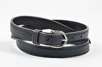 Hermès Hermes Black Silver Tone Pebbled Leather Skinny Belt 70
