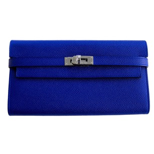 Hermès Hermes Blue Electric Epsom Kelly Long Wallet PHW Perfect Gift