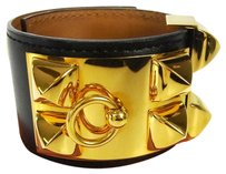 Hermès HERMES Bracelet Bangle Leather Gold-Tone