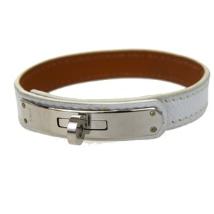 Hermès HERMES Bracelet Bangle Leather White