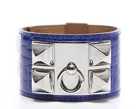 Hermès Hermes Electric Blue Alligator Collier De Chien Cdc Silver Cuff Bracelet