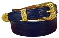 Hermès HERMES Flowers Buckle Belt Leather Blue
