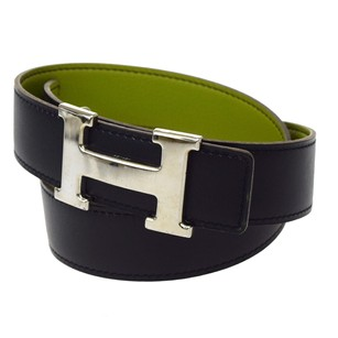 Hermès HERMES H Buckle Belt Leather Black Green