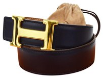 Hermès HERMES H Buckle Belt Leather Gold Black