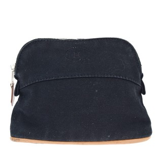 Herms Hermes H Logos Pouch Canvas Black Clutch