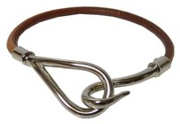 Hermès HERMES Jumbo Single Wrap Bangle Bracelet Brown Leather/Silvertone