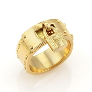 Hermès Hermes Kelly Bag 18k Yellow Gold Lock Charm Band Ring Eu 50-us 4.75