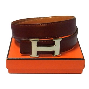 Hermès HERMES Logos Constance H Buckle Belt Brown #70