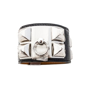 Hermès Hermes Matte Black Crocodile Gator PHW Collier de Chien CDC Leather Cuff Bracelet