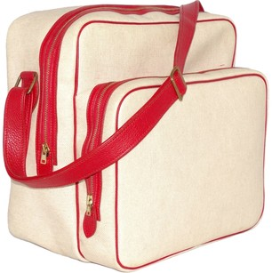 Hermès Hermes Natural Canvas with Red Leather Trim Travel Bag