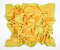 Hermès Hermes Orange Peach Green Cashmere Silk Geometric Pattern 140cm Pashmina Scarf