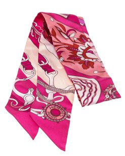Herms Hermes Pink Multicolor Twilly Scarf