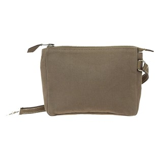 Hermès Pouch Cotton Leather Gray Clutch