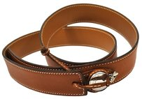 Hermès HERMES SELYE COIN BUCKLE BELT LEATHER BROWN SILVER VINTAGE 85