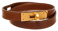 Herms Hermes Tan Leather Kelly Double Tour Bracelet