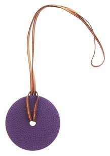 Hermès Hermes Violet Gold Leather Pendant Necklace