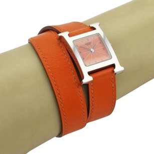 Hermès Hermas Paris Stainless Steel H Wrist Watch Double Tour Orange Leather Band Wbox