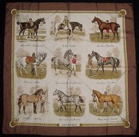 Hermès Hermes Brown Gold Les Robes By Philippe Ledoux Horse Breeds Silk Scarf Hso50