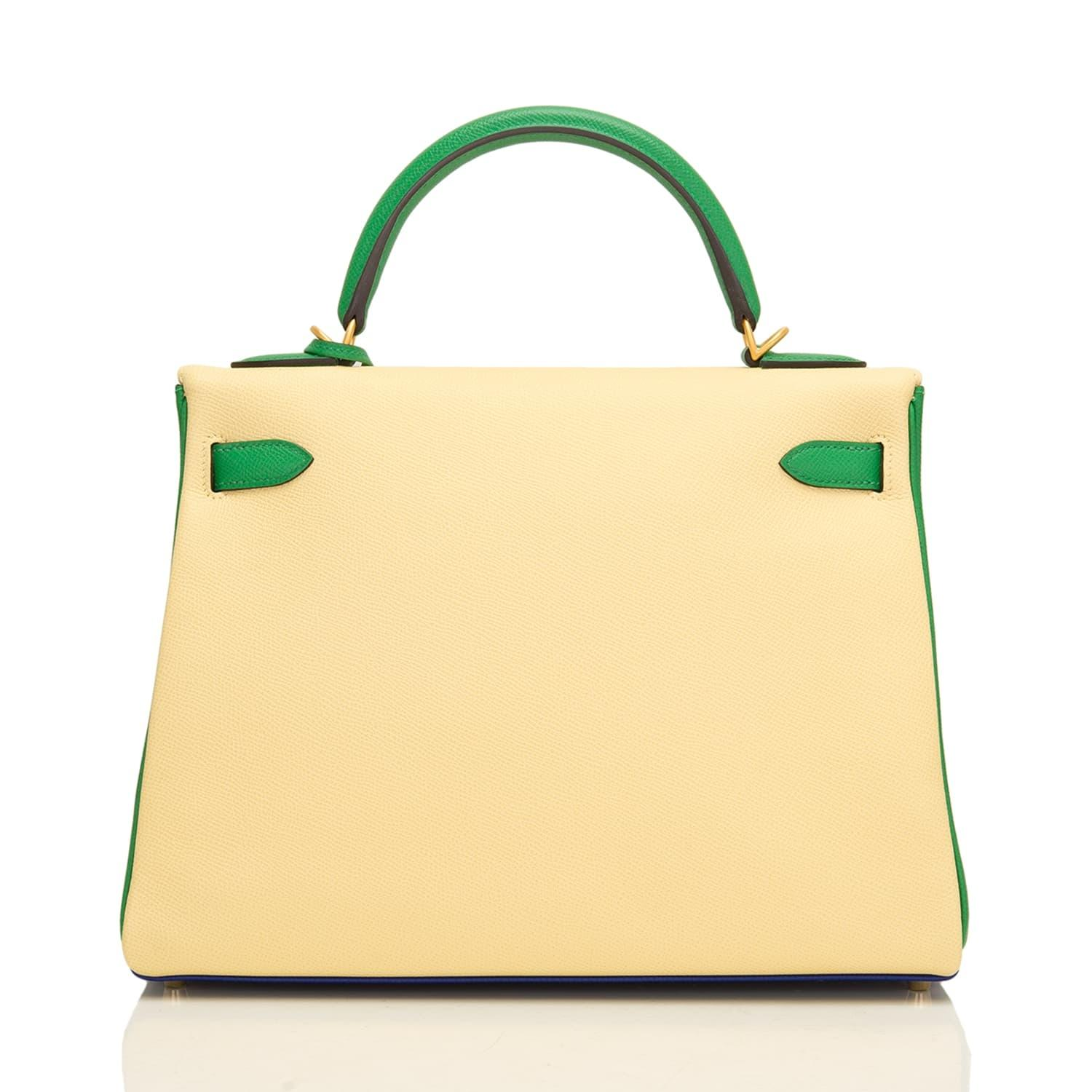 45bd0d4d146ac ... canada hermès kelly hss tri color epsom 32cm blue electric jaune  poussin and bamboo leather satchel