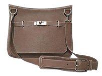Hermès Clemence Jypsiere Taupe Leather Messenger Box Cross Body Bag