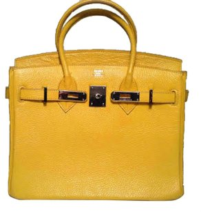 Hermès Palladium Togo 25 Leather Tote in Jaune