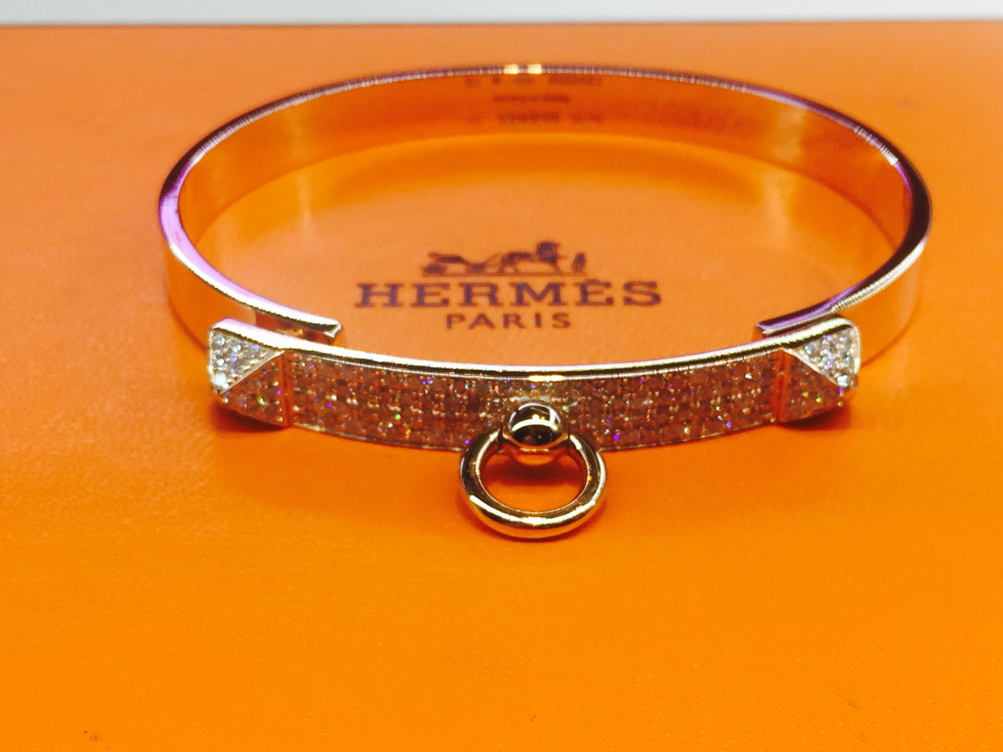 459afaaef14f official store hermes clic h narrow bracelet white enamel and pink gold  99df4 0fcfd  purchase hermès hermes collier de chien rose gold diamond  bracelet.