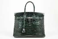 Hermès Hermes Dark Silver Tone Satchel in Green