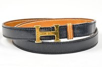 Hermès Vintage Hermes Black Brown Gold Tone Reversible H Skinny Belt