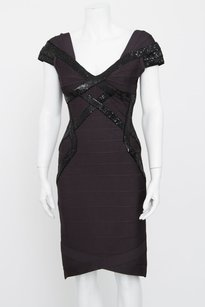 Hervé Leger Anthracite Bandage Bodycon Sequin Cap Sleeve Cocktail Dress