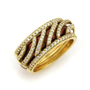 Hidalgo Hidalgo Diamonds Brown Enamel 18k Yellow Gold Open Band Ring Insert