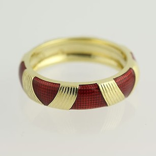 Hidalgo Hidalgo Red Enamel Stackable Ring Band - 18k Yellow Gold Textured Womens