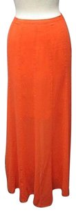 Hinge Side Zip Knee Length Lining Solid Sheer Long Sma 11487 Maxi Skirt Orange