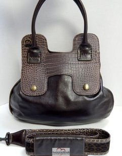 Hogan Leather Studded Tote in Brown