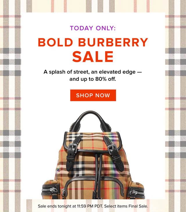 Today Only: Bold Burberry Sale