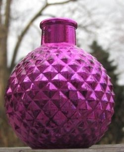 Hot Pink Purple Mercury Glass Round Mini Bud Vase