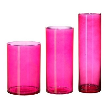 Hot Pink Vases Cylinder Glass Magenta Fuchsia 3 Si